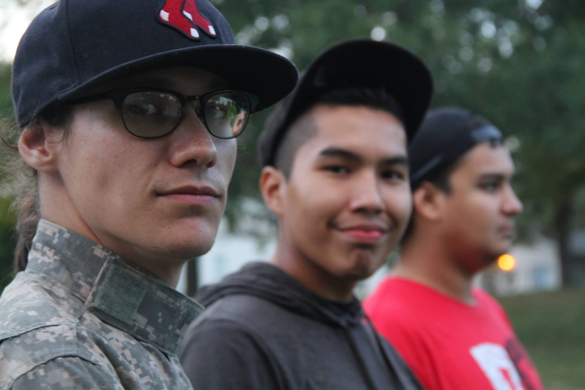 Young indigenous members of the Treaty 8 Justice for the Peace caravan in Saskatoon, September 7. photo by Gary McNutt