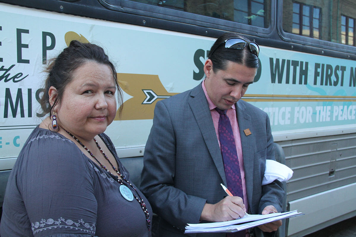 Yvonne Tupper and MP Robert-Falcon Ouellette. photo Gary McNutt