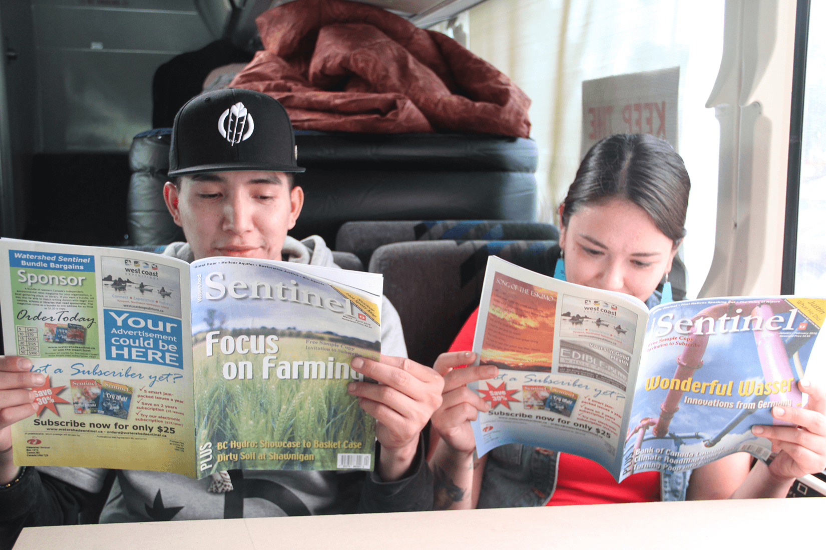 Catching up on some reading. Treaty 8 Justice for the Peace Caravan. photo by Gary McNutt