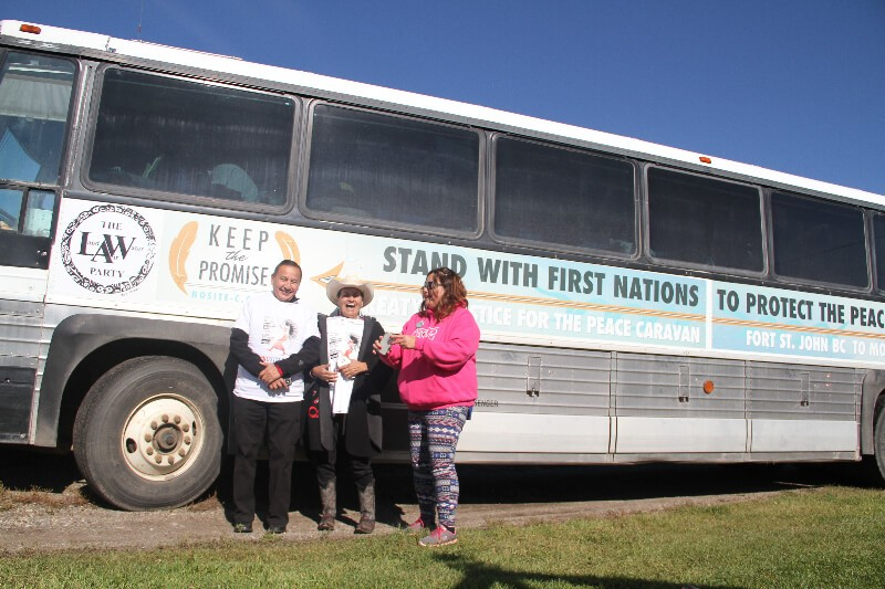 Grand Chief Stewart Phillip sending off the bus. Photo Gary McNutt