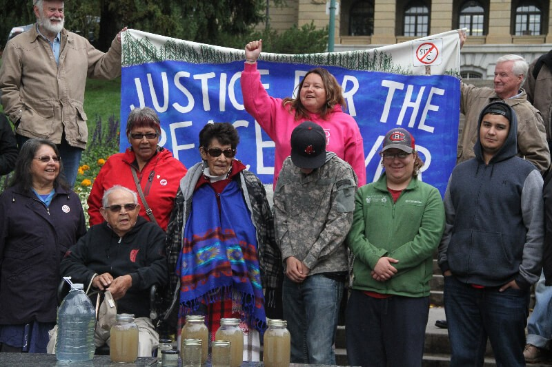 Gathering at Alberta Legislature, Edmonton Sept. 6. photo Gary McNutt