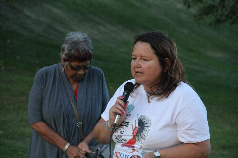 Yvonne Tupper of Treaty 8 speaking in Saskatoon September 7. photo Gary McNutt