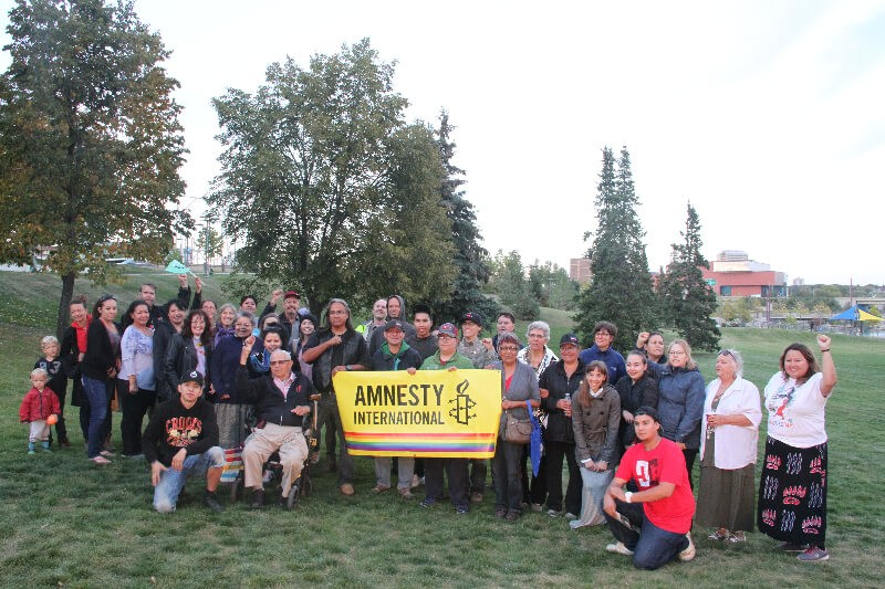 Treaty 8 Justice for the Peace caravan in Saskatoon, September 7. photo by Gary McNutt